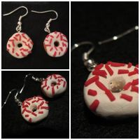 Red and White Donuts' Earrings by Martafav