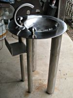 Stainless Pedestal Sink by ou8nrtist2
