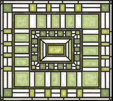 Frank Lloyd Wright Inspired Stained Glass Drawing by rockafellow