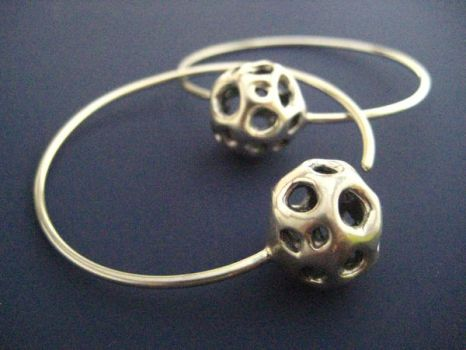 14g silver matrix ball hoops by discomedusa