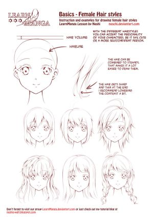 Learn Manga: Female Hair Styles by Naschi