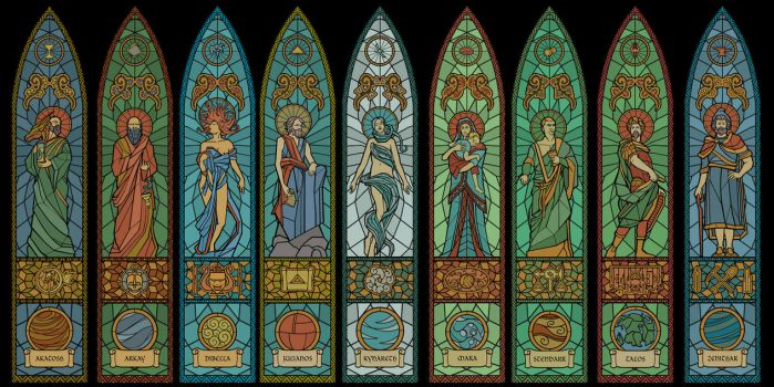 The Nine Divines - stained glass by lukkar