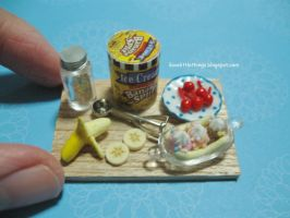Dollhouse Miniature Banana Split Ice Cream by ilovelittlethings