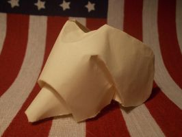 Origami Dog head created and folded by me. by OrigamiFolder13