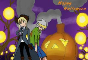 Halloween Maka and Soul by SunsetSovereign