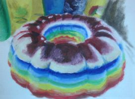 Rainbow Vodka Jello Cake by QuixoticouS
