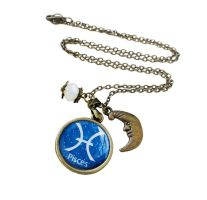 Pisces Zodiac Sign Antique Bronze Necklace by crystaland