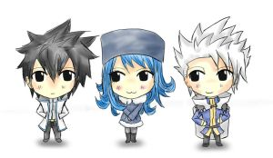 Gray, Juvia and Lyon chibi by TimTam13