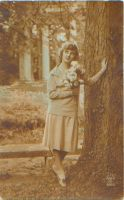 Sepia lady with tree by PostcardsStock