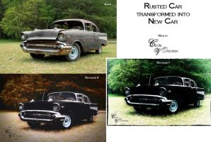 Rusted Car transformed into New Car - Before After by CecileVCreation