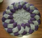 Purple and Grey Entrelac Hat by Branxnia