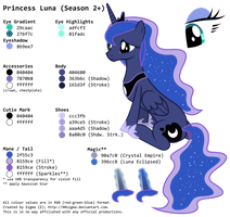 Princess Luna's (Season 2+) Colour Palette by 90Sigma