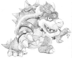 Stipple Bowser by nin10do-gamer