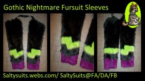 Gothic Nightmare Fursuit Sleeves Commission by SaltyPuppy