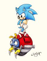 Classic Sonic and Motobug by RAWN89