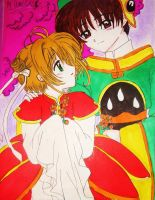 Syaoran and Sakura with color by wrdkiki22