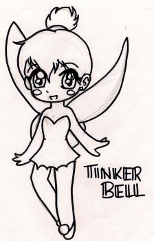 Tinkerbell Lineart by yaoi-fangirl