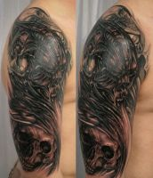 3 Cover Tribal Skull by 2Face-Tattoo