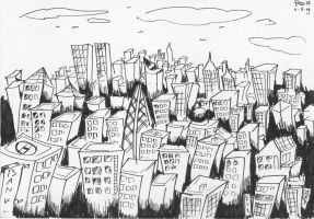 black and white city by frixinthepixel