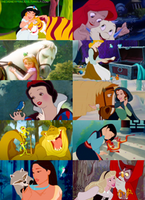 Disney Princesses and their sidekicks by Midnightrosesblood