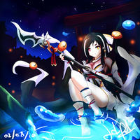 Elsword - Shrine's lake at night by Reviluke
