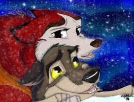 Balto and Jenna ~ under the aurora by AgentWhiteHawk