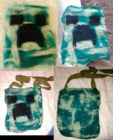 Felted Creeper Head Book Bag by CheesyChan
