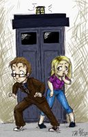 Tenth Doc and Rose with Tardis by nogoodlum