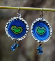 Heart Bottle Cap Earrings by ForeverTuesday