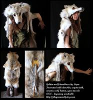 Golden Wolf Headdress by lupagreenwolf