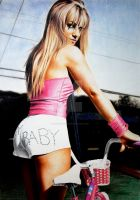 Britney Spears with bicycle by PassionDraw