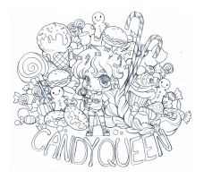 Candy Queen Chibi Commission - Sketch by YamPuff