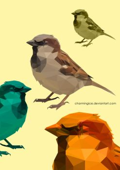 Low Poly Sparrows by CharmingIce