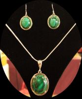 Booth 2 - Malachite Necklace and Earrings by Crimsonpelt