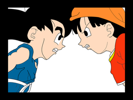 Son Goku vs Pan by Hand-Banana