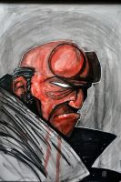 Hellboy Watercolor Painting by TheNewestRedRanger