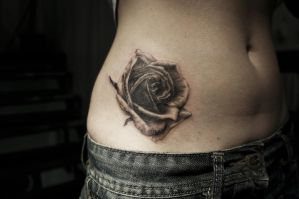 Realistic Rose Tattoo WIP by t-o-n-e