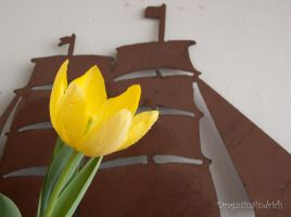 Flower on a metal boat by Aesfoban