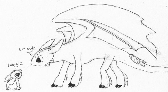 Toothless and stitch sketch by monofluore