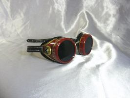Gold-Red steam punk goggles by Serata
