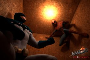 ClosEncounters: Spiderman and Batman in a Box by fanc3d