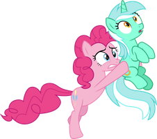 Pinkie Pie carrying Lyra Heartstrings by CloudyGlow