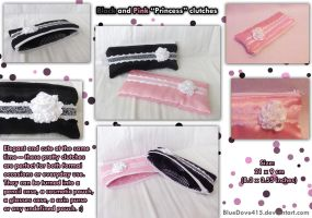 Black and Pink Princess clutches by BlueDove415