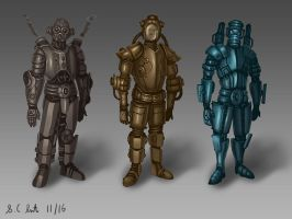 Post Apocalyptic styled suit designs by Samo94