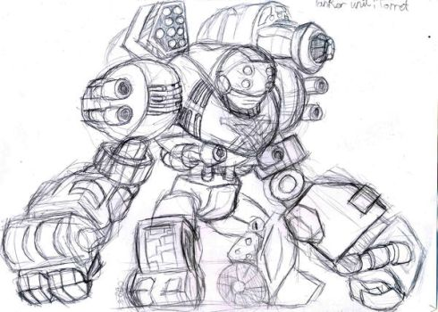 sketch tankmech Turret by crowmoon