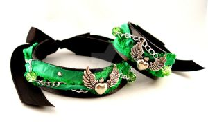 Black Green Collar Heart Set by StorytellerZero