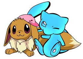 Colab eevee and mew by ConkerTSquirrel