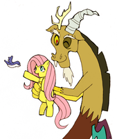 Fluttershy and Discord by terunoji