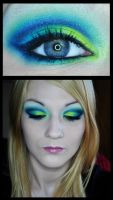 Blue and green cut crease by M00N-flower