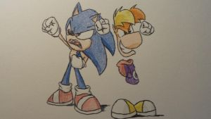 Crazy Rayman and Sonic by Ravingjur1087